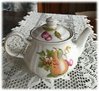 Sadler Teapot Fruit Design Ribbed Body Windsor England Pears Cherries Berries