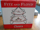 NEW NEVER USED FITZ AND FLOYD CHEERS TIERED SERVING PLATES CHRISTMAS TREE TRAY