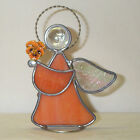 Orange Pansy held by Orange Leaded Stained Glass Gardening Angel Made in USA New