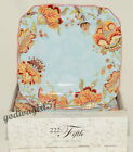 222 Fifth * Gabrielle Spring Blue * 8 DINNER PLATES * Jacobean, Floral, NEW/Box