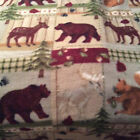 A WOODLAND PATCH BEAR AND MOOSE ON THE ROAM FLEECE FABRIC BY THE YARD