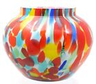 Bohemian Cased Spatter Glass Round Vase Multi Colors
