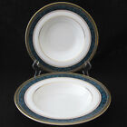 Royal Doulton Biltmore Rim Soup Bowl Green Blue Marble Edge with Gold Rings two