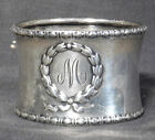 Antique Gorham Sterling Silver Napkin Ring W M Monogram cuff