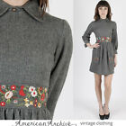 Vintage 60s Mod Dress Floral Embroidered Wool Scooter Cocktail Party Mini XS