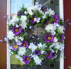 White Summer Floral Design Door Wreath~~Qs Creations Designs