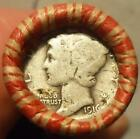 Wheat Cent Roll w/ 1916 (d?) Mercury Dime & BU!! RED Wheat Cent ends (x13)