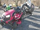 USED CRAFTSMAN LAWN TRACTOR WITH PULL BEHIND LEAF COLLECTION SYSTEM LOW HOURS