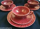 VINTAGE FRANCISCAN Ware CORONADO GLOSSY BURGUNDY LOT OF 7 pc CUP SAUCER
