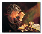 Gratitude Lady Praying Table Daily Bread Religious Wall Picture 8x10 Art Print