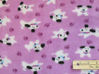 Puppy Dogs  Purple Paws on Purple Fleece Fabric by the Yard