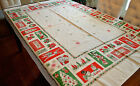 VINTAGE 1950s CHRISTMAS TABLECLOTH SANTA HOLLY FUN GRAPHICS COTTON 52X64 INCHES