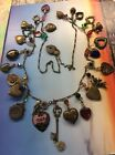 Vintage Glass Works Studio Heart Necklace Signed Brass Charms Glass Beaded 34