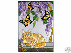 14x20 TABBY CAT Stained Art Glass Window Suncatcher