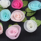 25 125PC Organza Ribbon Flowers Bows Rose W Green Leaf Appliques Craft Mix A504