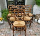 Antique French Dining Chairs ~Tall Ladder Back Rush Seats ~ Carved w/stretchers