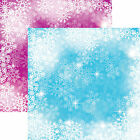 Reminisce FROSTED 12x12 Dbl Sided 2pc Scrapbooking Paper SNOWFLAKES