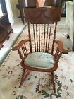 Antique Carved Back Spindle Rocker With Needlepoint Seat 1800's