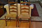 VINTAGE LADDERBACK  CHAIRS WITH RUSH SEATS ANTIQUE COUNTRY- AVAILABLE SET OF TWO