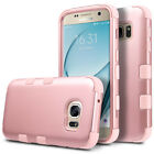 Rose Gold Hybrid Rugged Heavy Duty Rubber Case Cover For Samsung Galaxy S7