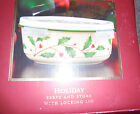 NEW Christmas serve and store Holiday design Lenox bowl dish holly leaf berry