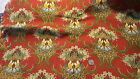 Antique Cotton Fabric Twill LARGE FLORAL CHINTZ ON TURKEY RED 26
