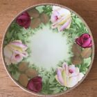 Co. Bavaria Hand Painted Signed Perier Porcelain Plate Roses Gold Rim