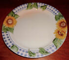 Corning Corelle 4 Sunflower Sensations Blue Check Dinner Plates