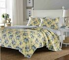 Quilt Set Queen Size Cotton Yellow Base Blue Flowers Shams Comforter Bedspread