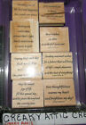 STAMPIN UP VERSATILE VERSES 8 RUBBER STAMPS 1999 WISHES FRIENDS