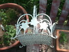 Vintage White Wrought Iron and Wicker Flower Basket Garden Chic