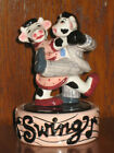 Cows Dancing Swing Clay Art Novelty Stacking Salt Pepper Shakers Set