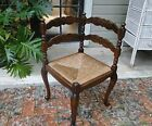 Antique French Corner Chair Carved with Rush Seat Turned Legs Dark Oak Scalloped