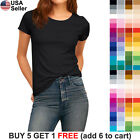 Basic Crew Neck T Shirt Solid Plain Top Stretch Layer Fitted Women Blank 3008
