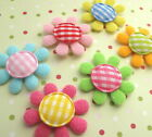 US SELLER 60 pc x 1 Padded Felt Daisy Flower Appliques w Gingham Cotton ST418