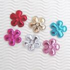 60 pc x 1 Mix Color Padded Silver Shiny Felt Flower Appliques Christmas ST607