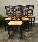 Antique French Tall Dining Chairs Ladder Back Rush Seats Carved stretcher Shells