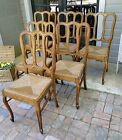 6 Antique French Dining Chairs Carved ~ Rush Seats ~ Oak Cabriole Legs ~ Quality