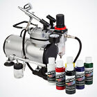 Complete Airbrush System Kit w 6 Primary Createx Paint Color Set Air Compressor