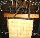 VTG ESTATE FIESTA WOVEN WICKER BAMBOO TILE HANDBAG TOTE PURSE SATCHEL BOX BAG