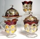 EAPG Ruby Stained Peerless 4 Piece Table Set Tarentum Glass Co
