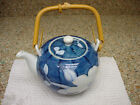 FITZ & FLOYD CAMELLIA TEAPOT BLUE WITH WHITE FLOWER MARKED FF JAPAN