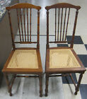 PAIR OF GENUINE STICKLEY BROS. ARTS AND CRAFTS WALNUT CHAIRS CANE BOTTOMS RARE