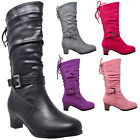 Kids Boots Mid Calf Girls Lace Up Low Heel w Buckle Strap Accent Shoes