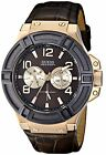 Guess Rigor Standout Brown Dial SS Leather Multi Quartz Men's Watch U0040G3
