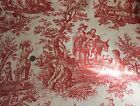 2.75YD Waverly Decorator Cotton Fabric country life weekend collection toile red