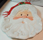 Fitz & Floyd Christmas Peppermint Santa Figure Holiday Party Table Canape Plate