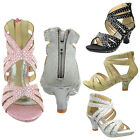 Girls High Heel Pageant Dress Sandals Rhinestone Studs Back Zipper  RUN SMALL