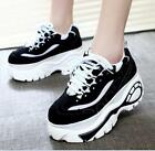 Womens round toe high platform lace up creepers high heel shoes sneakers Z357
