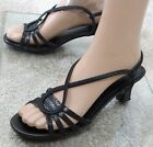 CABRIZI Black Strappy Sling Back Pump heel party Sandal shoes, Size 8.5 M